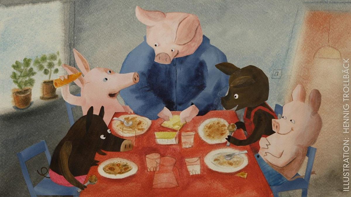 Tripp, Trapp, Träd: Äta lunch Illustration: Hennig Trollbäck