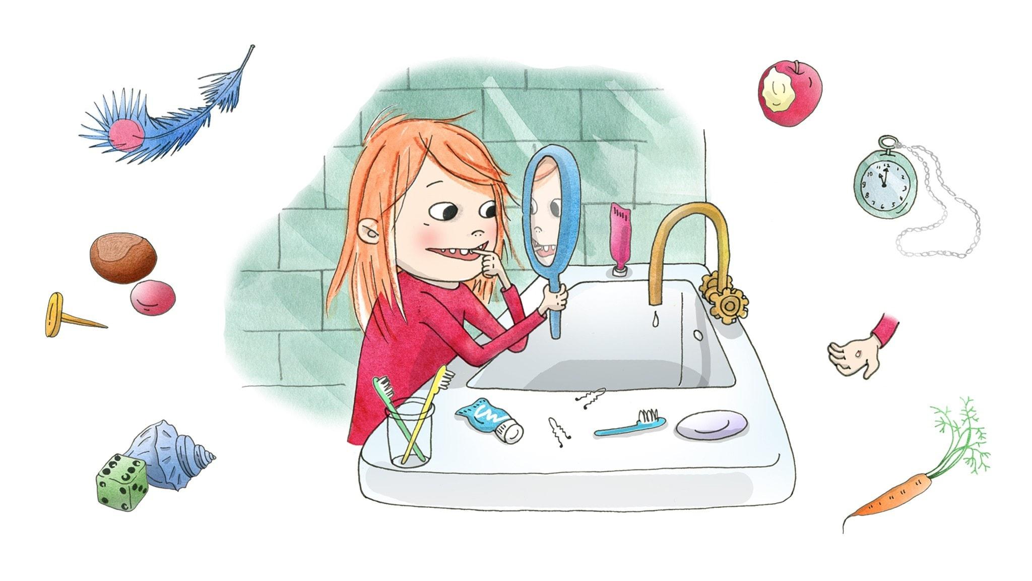 Saga är i badrummet och kikar på sin lösa tand i spegeln. Illustration: Emma Göthner