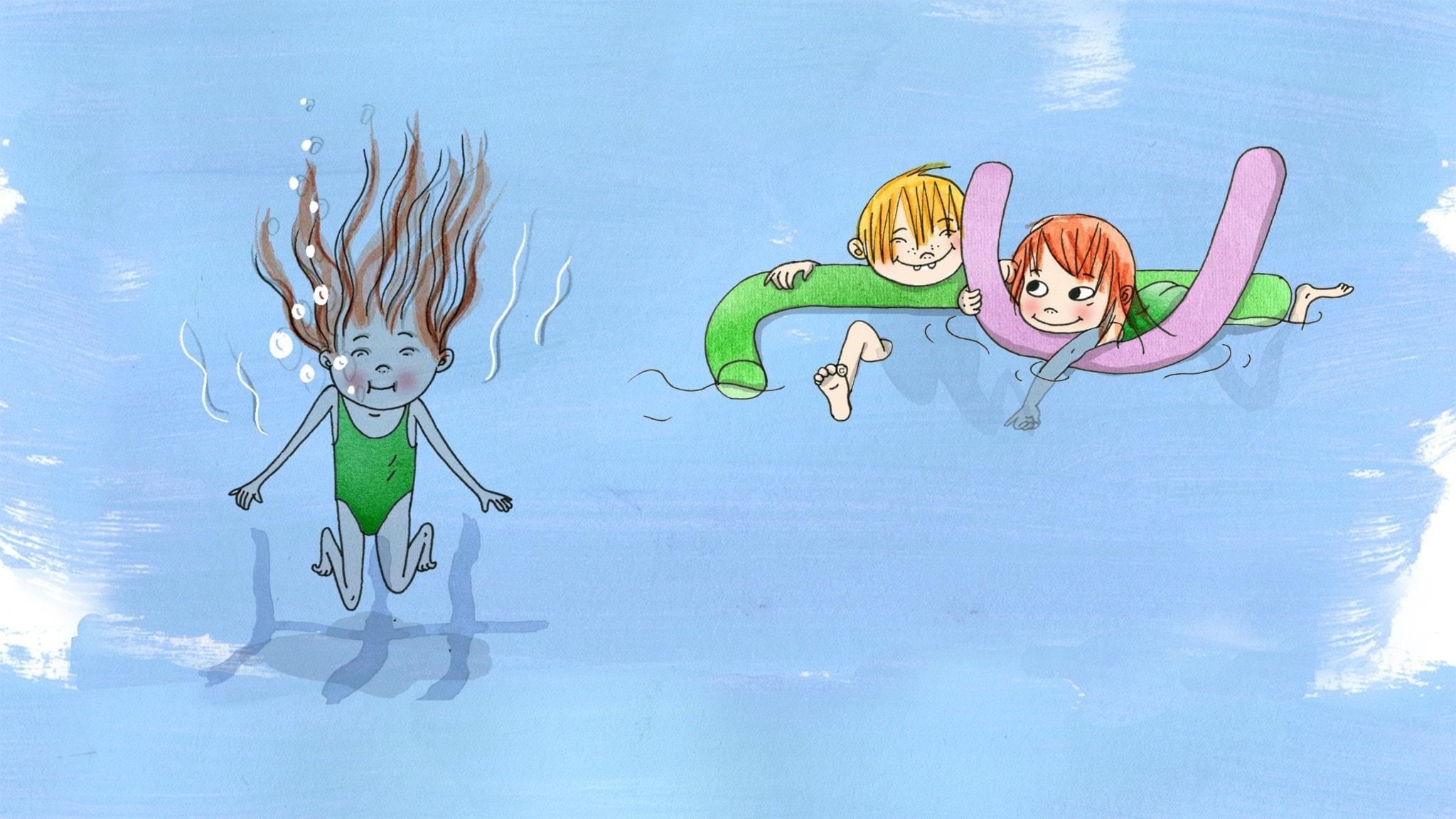 Saga hoppar i bassängen på simskolan. Illustration: Emma Göthner