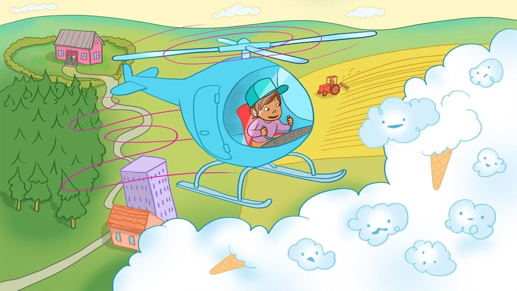 Sagan om Hector helikopter. Illustration: Ingrid Flygare