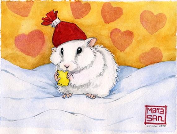 Hamstern Lillen tecknad av Maria Sandberg.