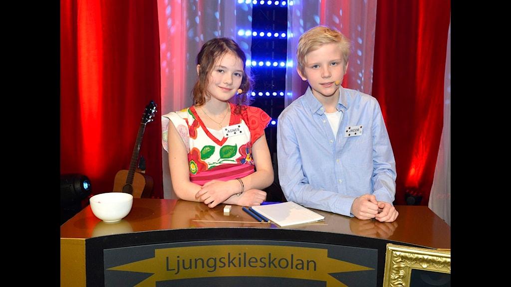 För Ljungskileskolan tävlar Agnes Westberg och Jacob Grimbrandt. Final i Vi i femman 2013. Foto: Carl-Johan Söder/SVT