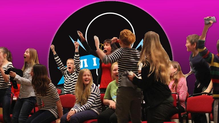 Glada femteklassare. Foto: Sveriges Radio.