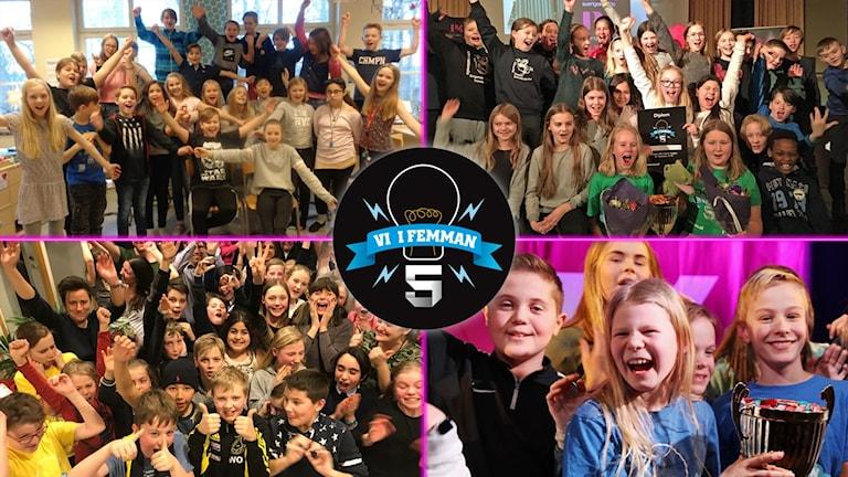 Alla klasser som gick vidare till finalen i Vi i femman 2018: Montessorifriskolan i Karlskrona, Almtunaskolan i Uppsala, Engelska skolan i Sundsvall och Vilans skola i Nacka.