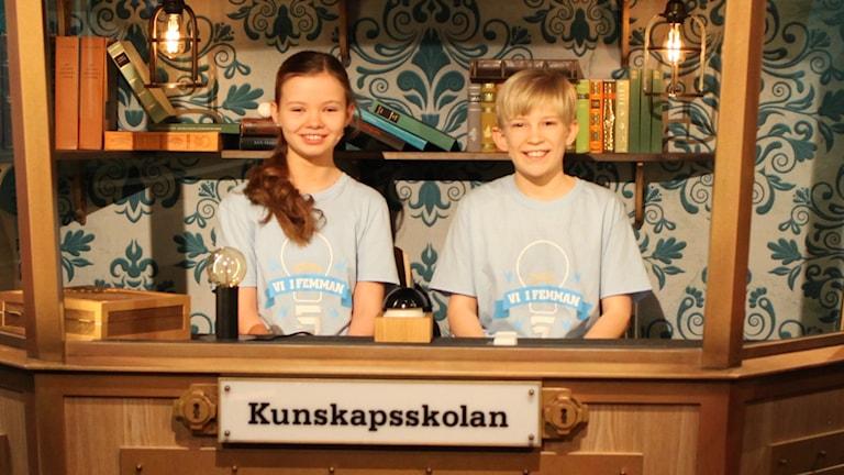 För Kunskapsskolan i Västerås tävlar Isabelle Stier och Elliot Solig.