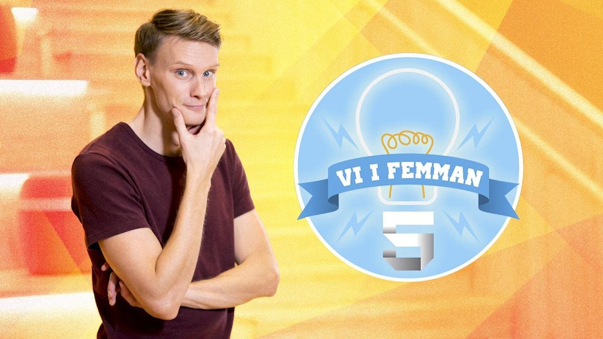 Vi i femmans programledare Kristoffer Fransson. Foto: SVT.
