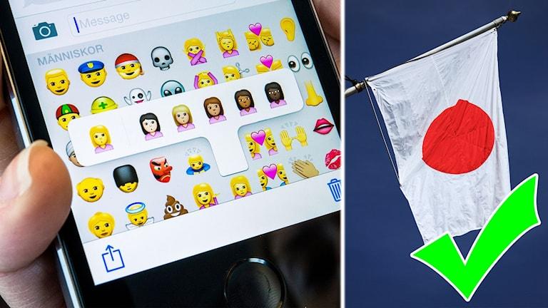 Ett kollage med en mobil som visar emojis och en japansk flagga.