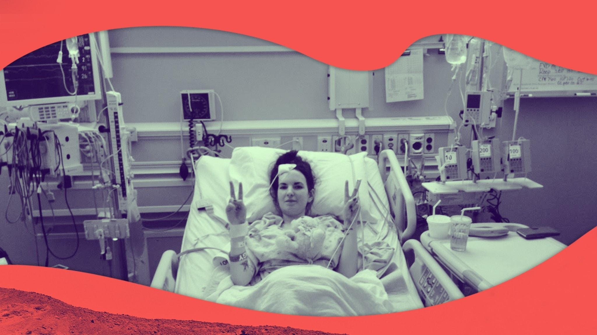 Emma ligger på sjukhussängen och har precis opererat hjärnan.