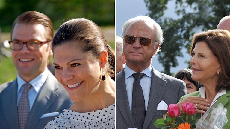 Prins Daniel, kronprinsessan Victoria, kung Carl XVI Gustaf och drottning Silvia. Foto: Sveriges Radio.