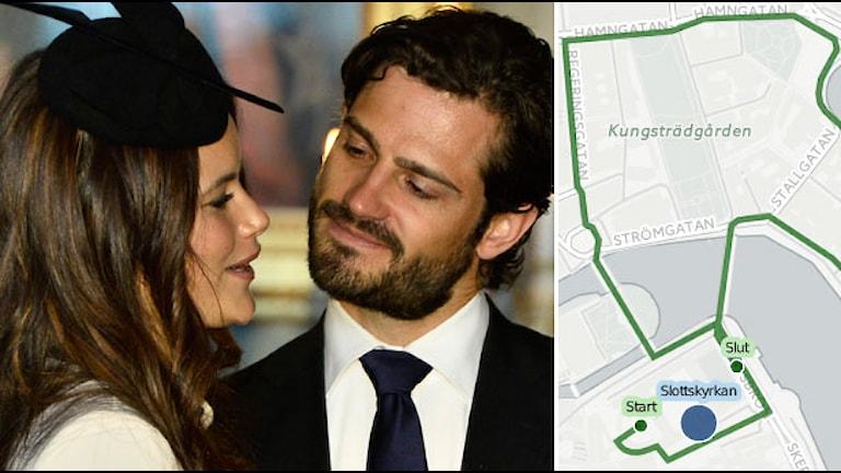 Sofia Hellqvist und Prinz Carl Philip sowie eine Karta zum Verlauf der Prozession (Foto Claudio Bresciani/TT)