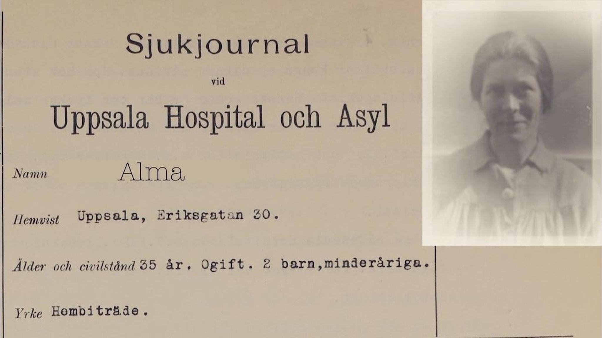 Bild av en sjukhusjournal från 1928 och ett foto av en kvinna.