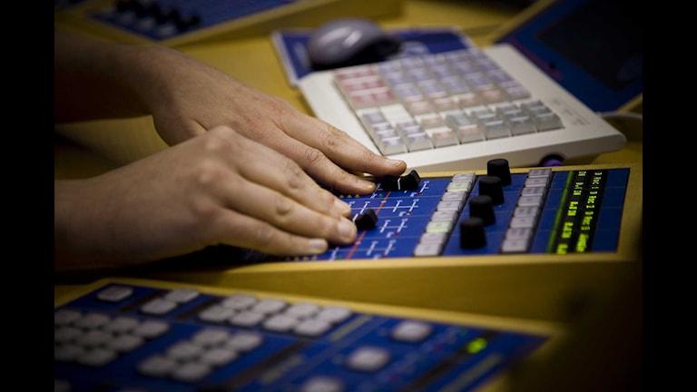 Sändningsbord i radiostudio