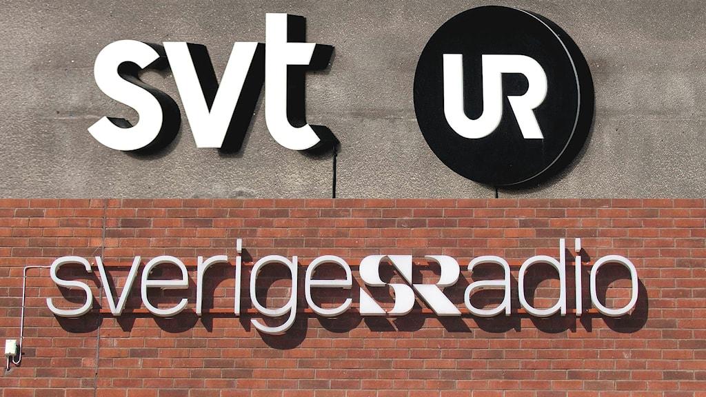 Ihopklippt bild på fasader med loggorna för SVT, UR och Sveriges Radio