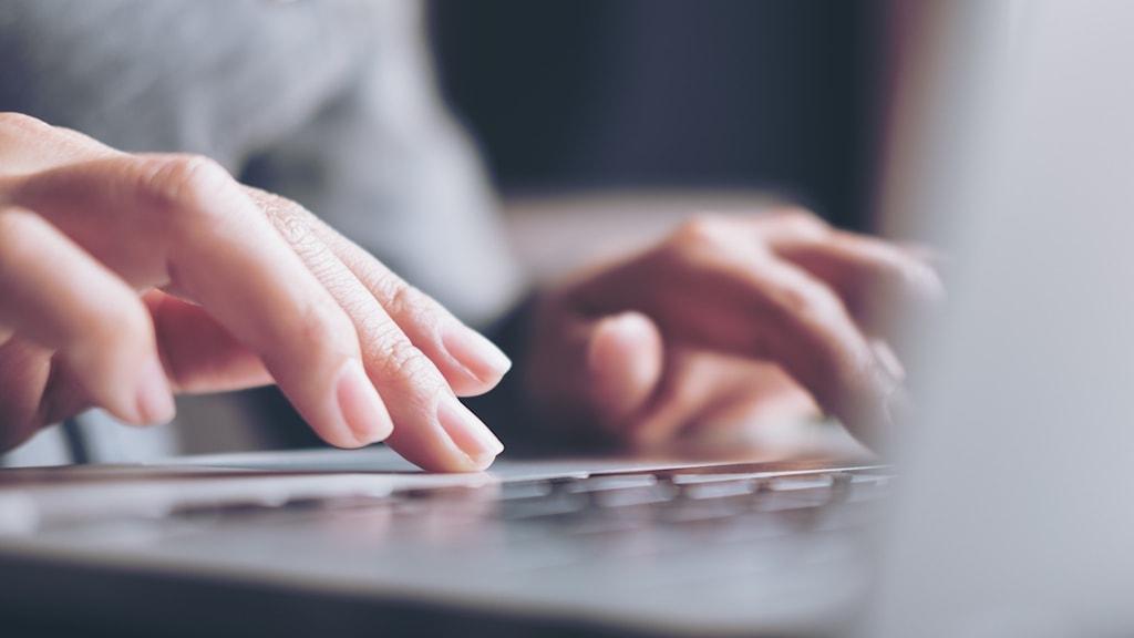 Fingrar som skriver på en laptop