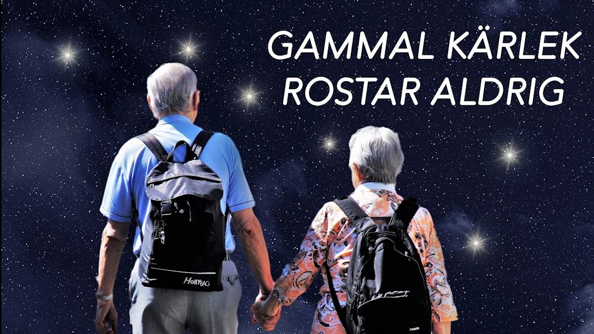 """Ett äldre par med ryggsäckar på sig tittar på stjärnbilden Karlavagnen. Texten """"Gammal kärlek rostar aldrig?""""."""
