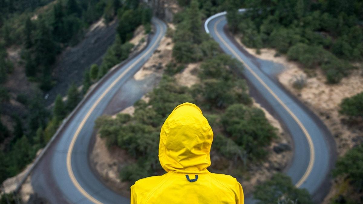Person tittar ut över två vägar som leder åt olika håll.