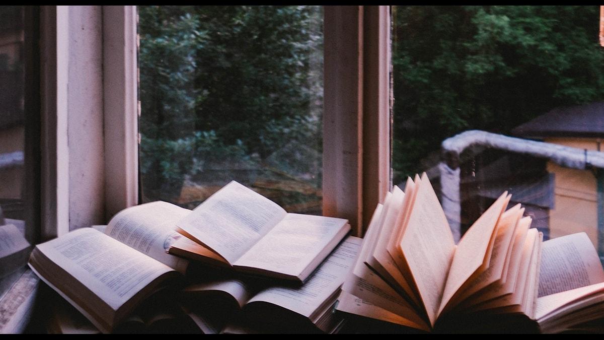 böcker ligger uppslagna i en djup fönsterkarm