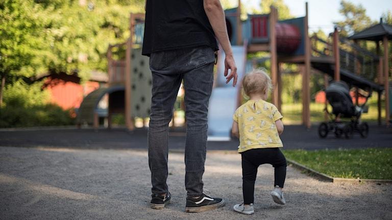 pappa, barn, lekplats