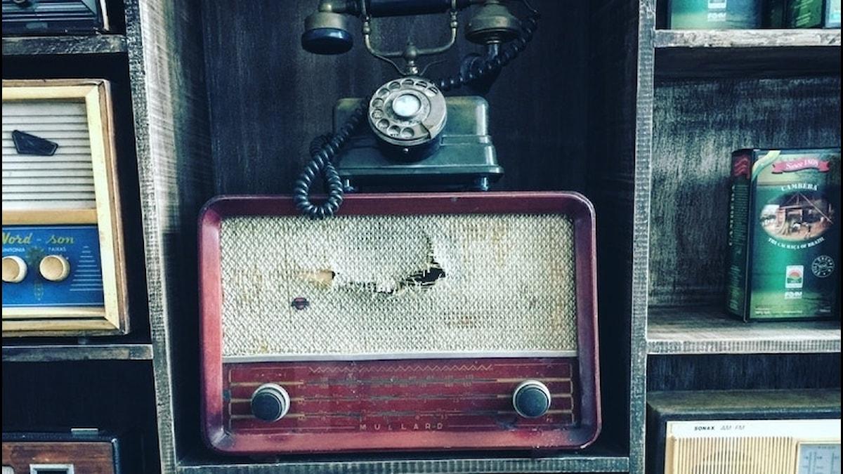 gammal telefon står på en gammal radio