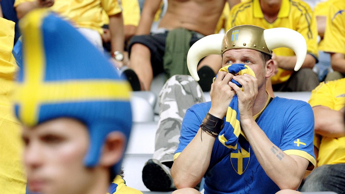 Besviken fotbollssupporter. Foto: Tomas Oneborg/SvD/TT