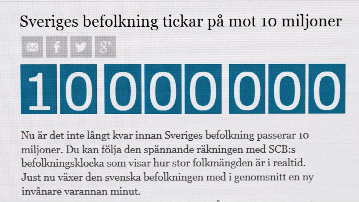 Den historiska siffran är uppnådd. I Sverige bor nu tio miljoner människor, enligt Statistiska centralbyrån (SCB).