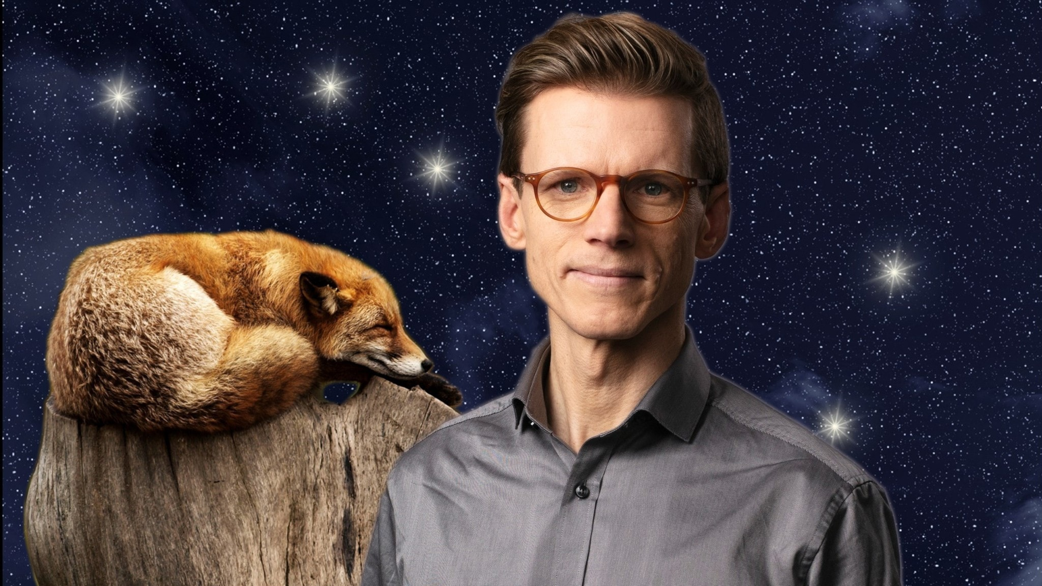 I förgrunden programledaren Johan Signert, framför en sovande räv och en stjärnhimmel.