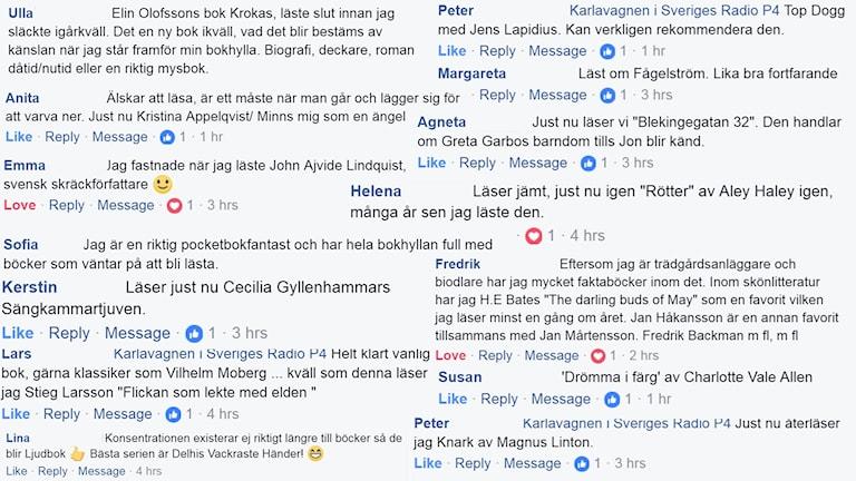 kollage som består av Facebook-kommentarer från Karlavagnens Facebooksida