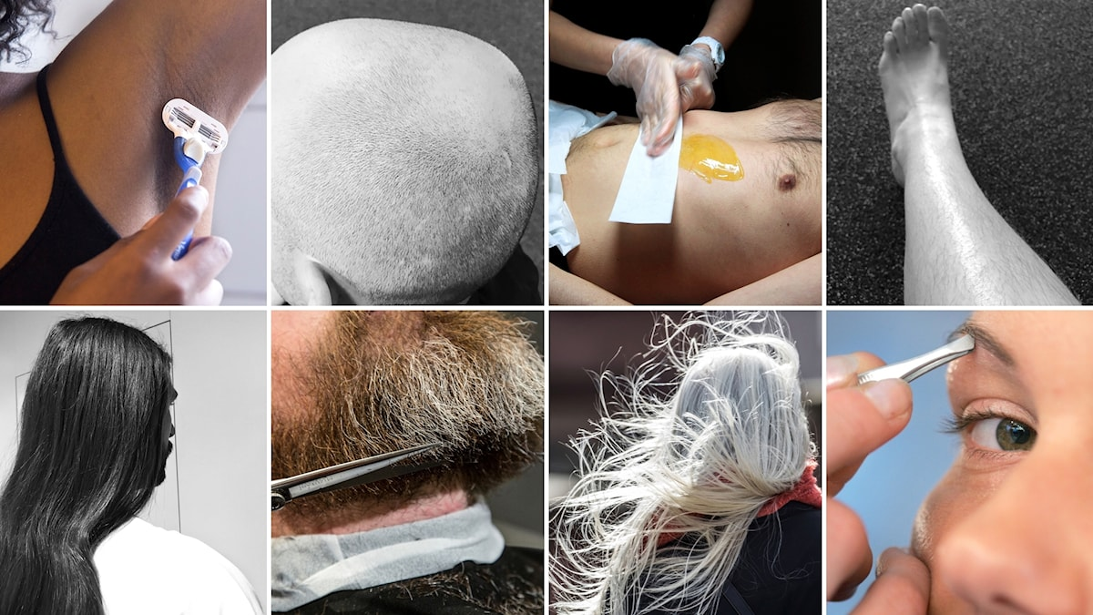 Bilden visar ett fotomontage med åtta bilder som visar hår, håravfall och hårborttagning i olika former.
