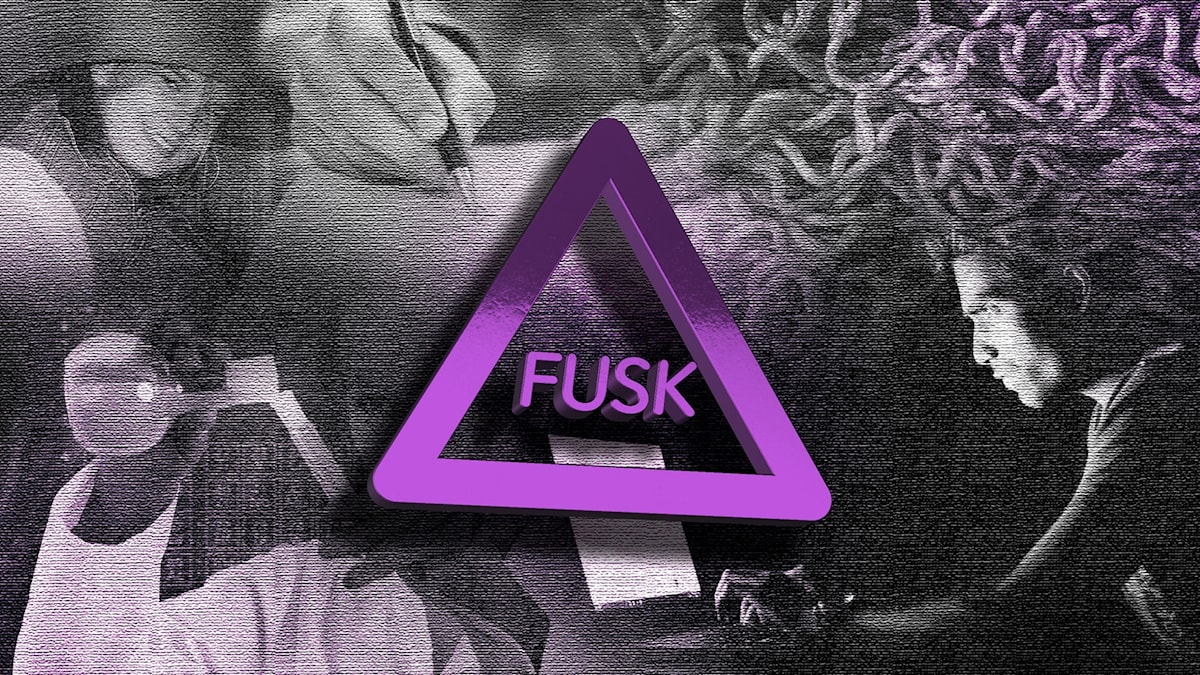 "Ordet ""FUSK"" står inut en triangel mot ett kollage av bilder på temat fusk."