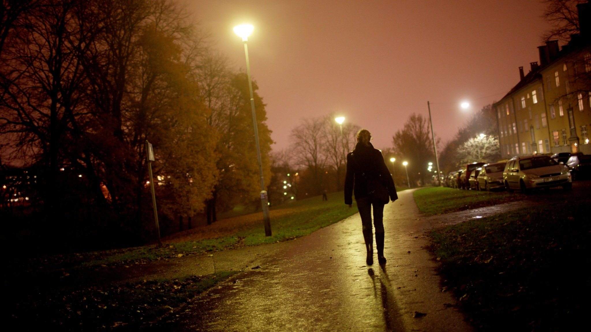 Kvinna natt gatljus gångväg