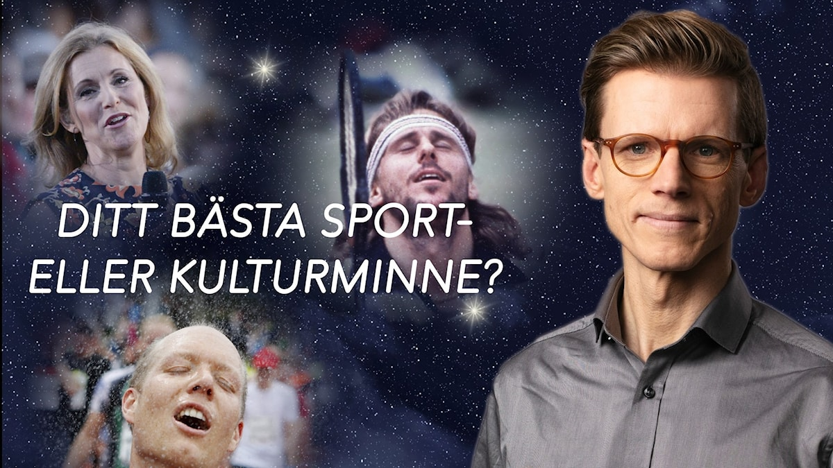 """Bildkollage med Helen Sjöholm, Björn Borg, en anonym löpare i Göteborgsvarvet och programledare Johan Signert. I bakgrunden en stjärnhimmel. Texten """"Ditt bästa sport- eller kulturminne"""" i mitten."""