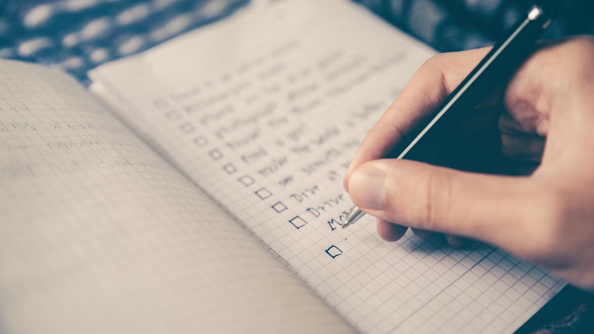 en handskriven lista