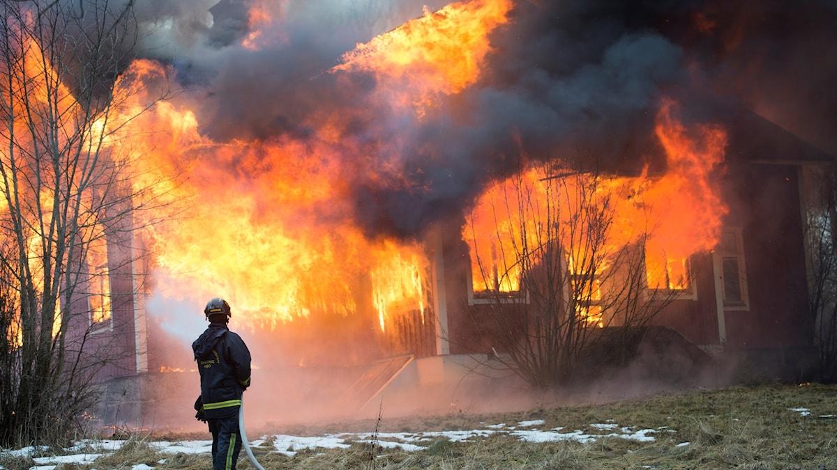 En brandman står med en slang och sprutar vatten på en övertänd villa. Eldflammorna har helt tagit över huset.