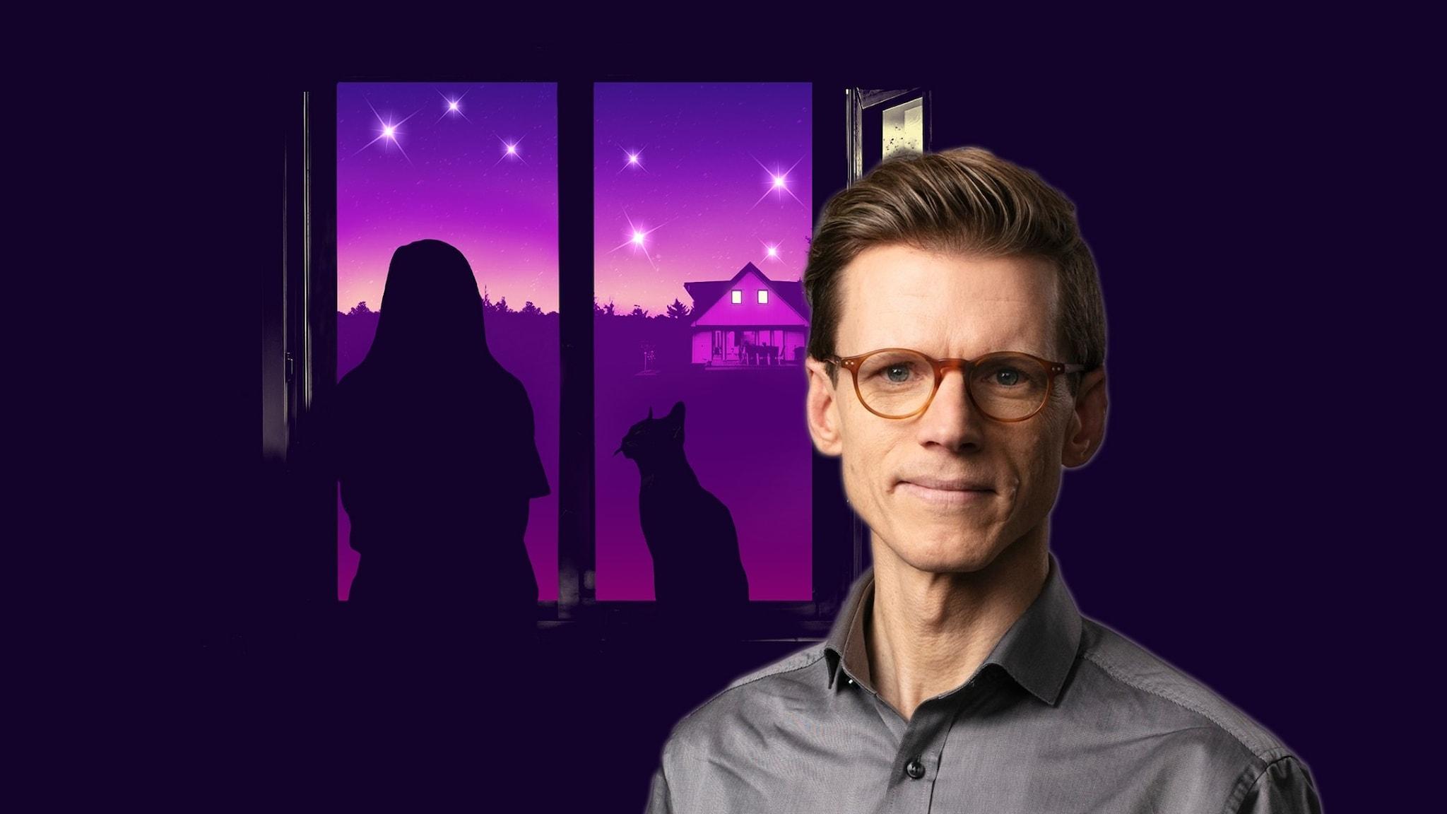 Programledare Johan Signert, i bakgrunden ett tecknat fönster med en natthimmel utanför. En person och en katt avtecknar sig i silhuett. Stjärnbilden Karlavagnen syns på himlen.