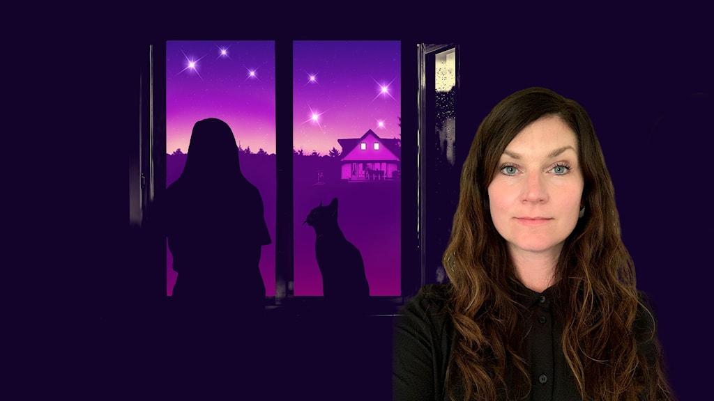 Malin har mörkt hår och står mot Karlavagnens konvolutbild.