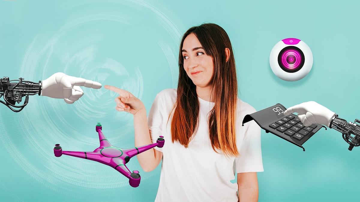 Ung kvinna omgiven av olika sorters robotprylar.