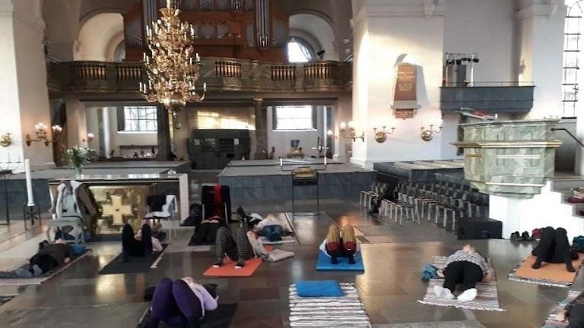 Yoga i Katarina kyrka, Stockholm.