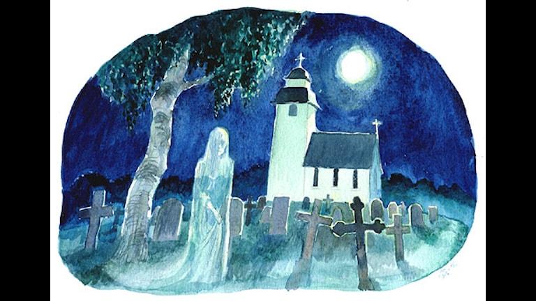 Spöke på kyrkogård (Bild: Katarina Strömgård)