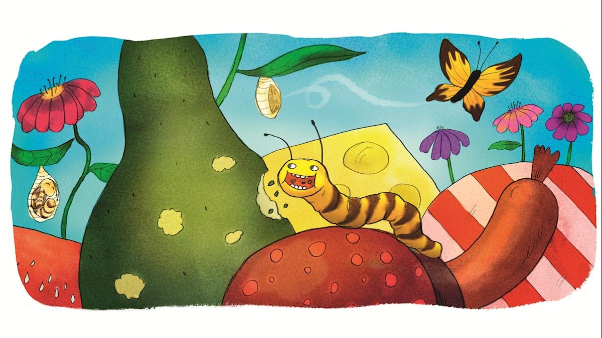 Magiska Skrinet: Den väldigt hungriga larven, illustration: Ingrid Flygare