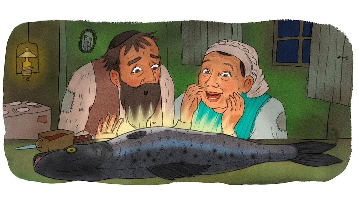 Magiska Skrinet: Yankel och sabbatsfisken, illustration: Ingrid Flygare