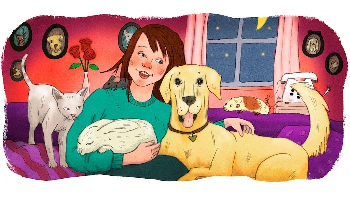 Magiska Skrinet: Flickan som inte fick ha något eget djur, illustration: Ingrid Flygare