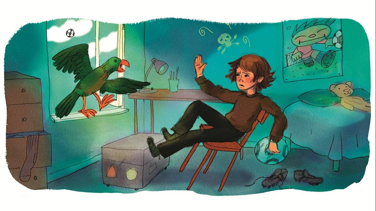 Magiska Skrinet: Veeti och fjädern, illustration: Ingrid Flygare