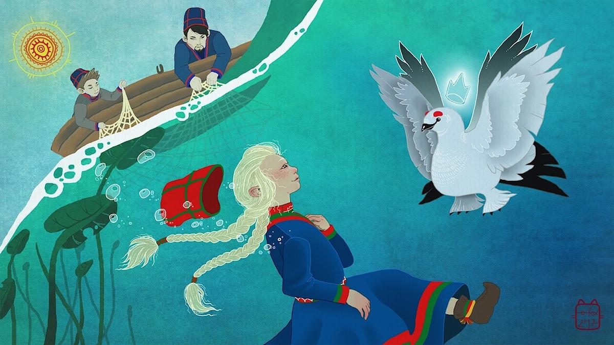 Elsa i Saajvoe-kungens rike, del 1. Illustratör: Emma Fox Sandberg