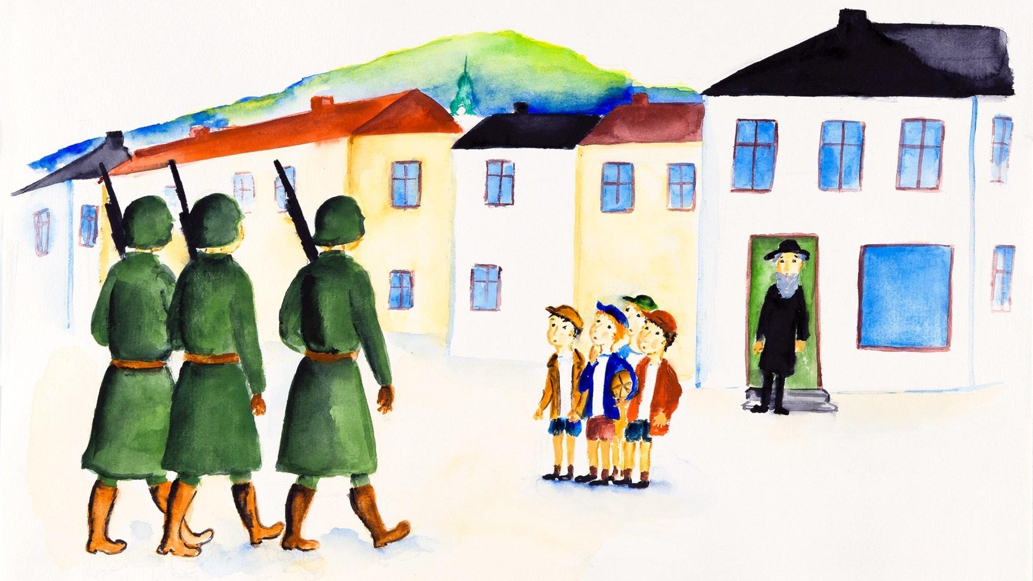 Soldaterna kommer till staden. Bild: Rebecka Lagercrantz