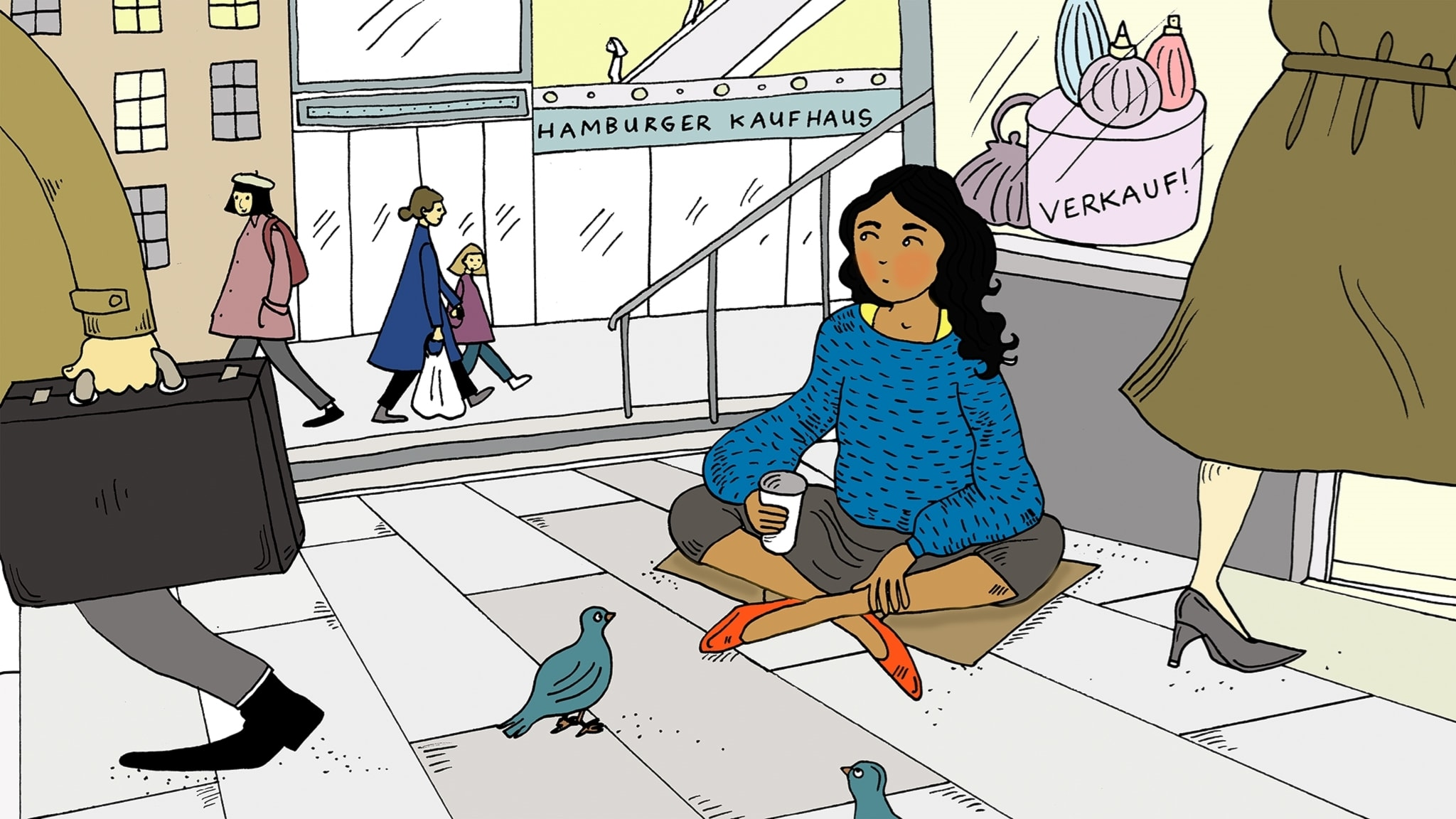 Pippi i Rinkeby, del 2 - Pippi sitter på marken utanför en affär. Bild: Amanda Eriksson