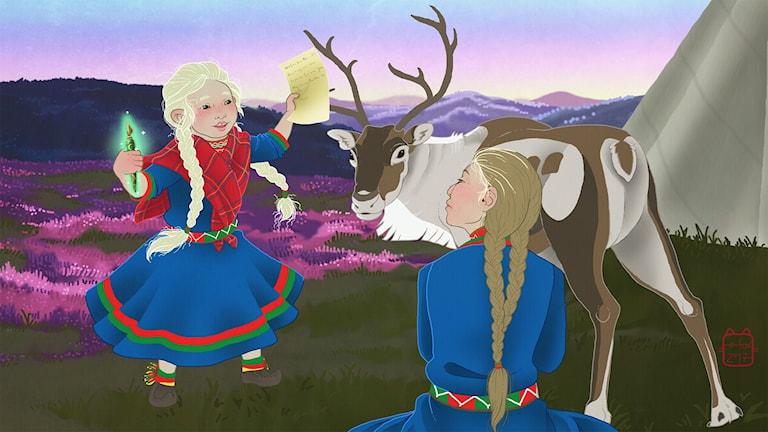 Elsa Sáivu-gonagasa máilmmis, 4. oassi: Girji   Illustratör: Emma Fox Sandberg