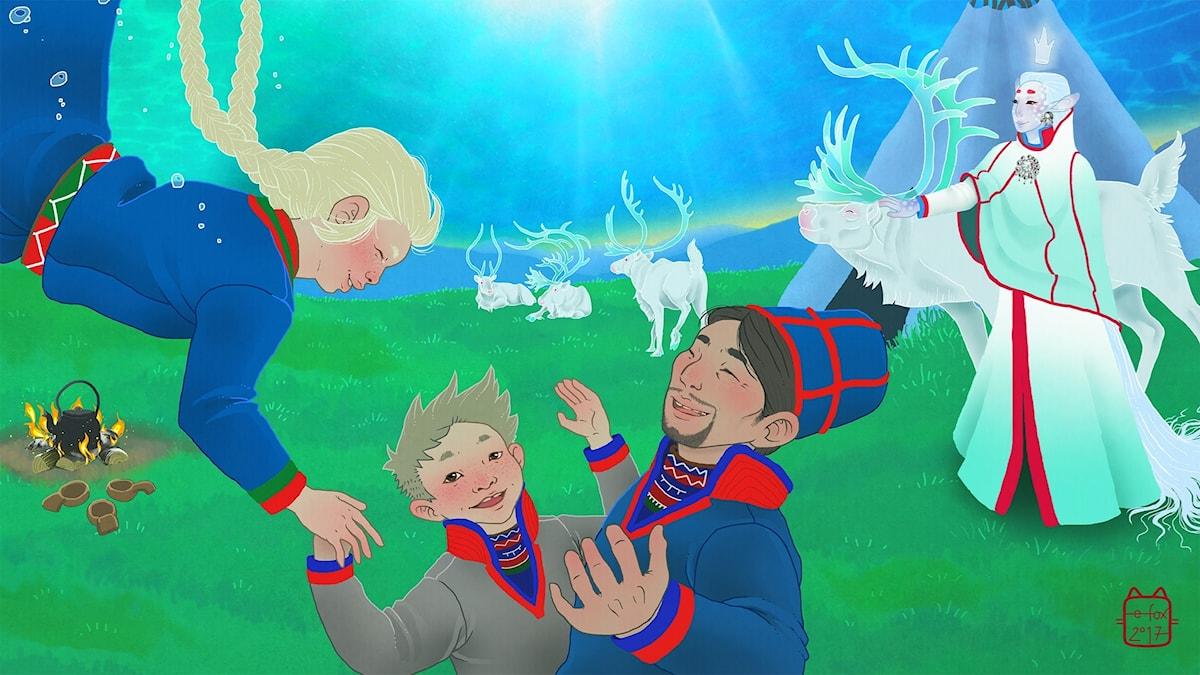 Elsa i Saajvoe-kungens rike, del 3. Illustratör: Emma Fox Sandberg