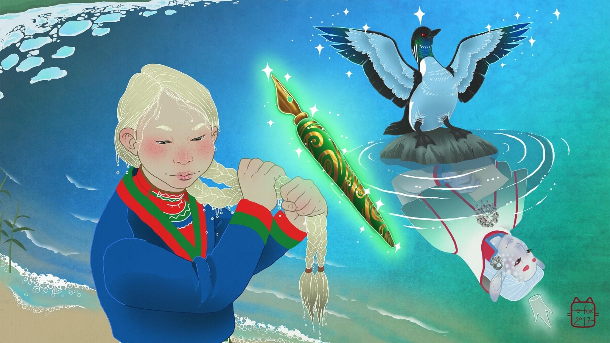 Elsa i Saajvoe-kungens rike, del 2. Illustratör: Emma Fox Sandberg