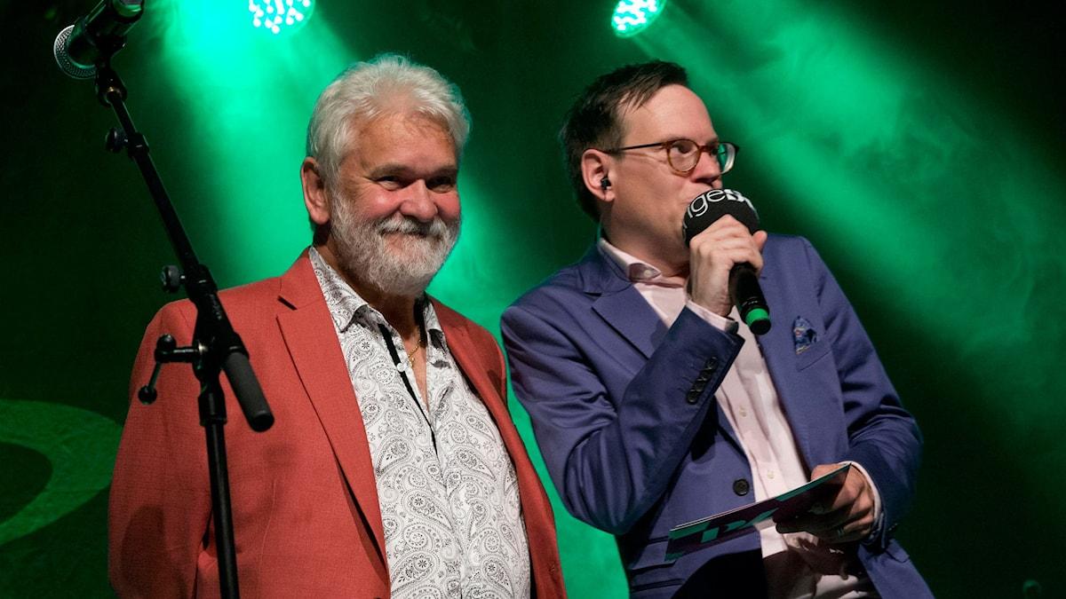 Hasse Andersson och Thomas Deutgen på Guldklaven i Malung 2015. Foto: Stina Gullander/Sveriges Radio.