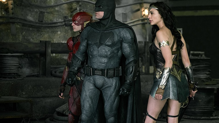 Flash, Batman och Wonder Woman i Justice League.
